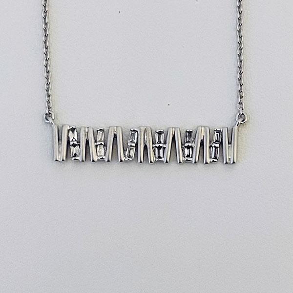 Zigzag baguette diamond necklace