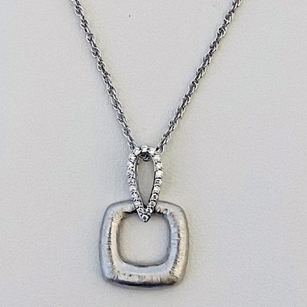 Brushed square diamond pendant