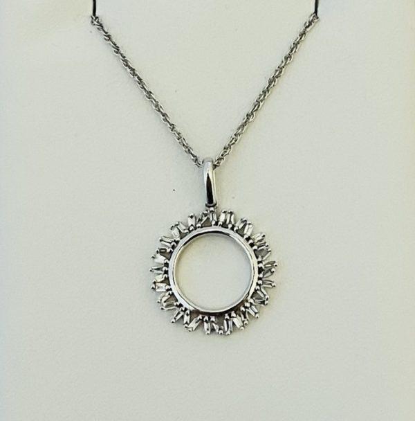 Baguette diamond circle pendant