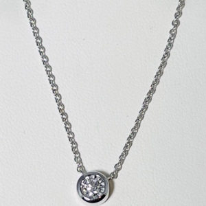Bezel set circle diamond pendant