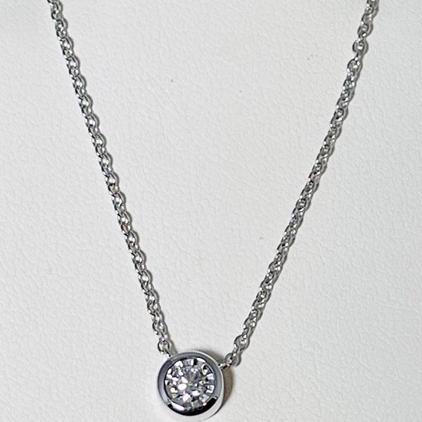 Bezel set circle diamond pendant